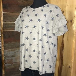 New Gray Patriotic Ruffle Tee Top